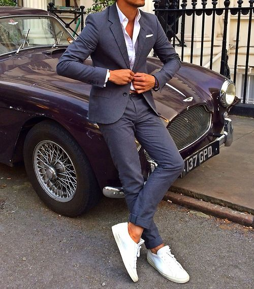 Clean white sneaks with a suit.